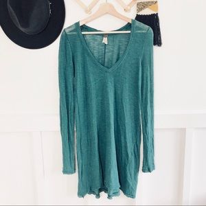 Free People | Distressed Turquoise V-Neck Tunic
